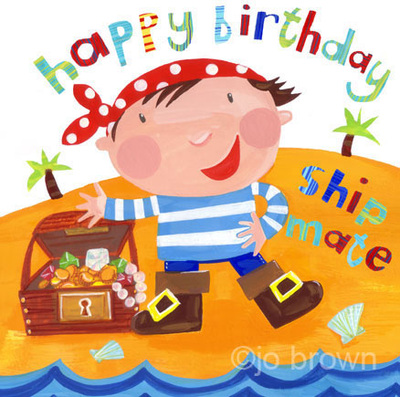 a birthday card design featuring a pirate boy and treasure