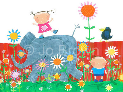 an illustration of a happy little girl standing on an elephants back with a little boy and a crow in a garden