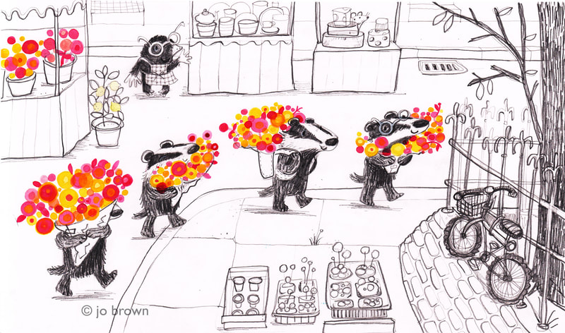 an illustration of badgers carrying bunches of flowers with a mole watching them from a market stall