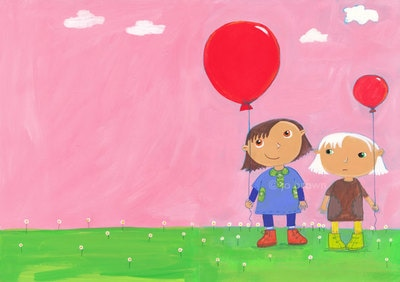 an illustration of two little girls with balloons