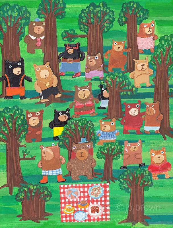 an illustration of suspicious looking bears in a wood