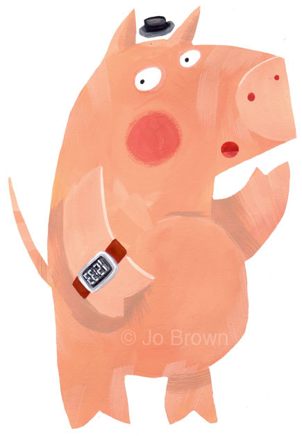 an illustration of a pig wearing a digital watch