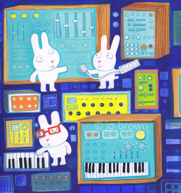 an illustration of rabbits with synthesisers and keyboards