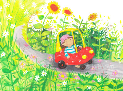 an illustration of a little girl riding a pedal car through a garden with sunflowers