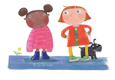 an illustration of a girl wearing an outsize jumper and a girl with a dog