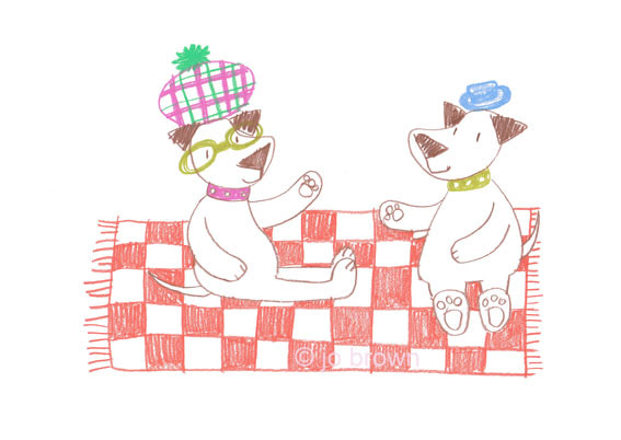 an illustration of two dogs wearing hats sitting on a picnic blanket